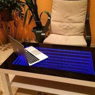 infinity mirror cube table with led