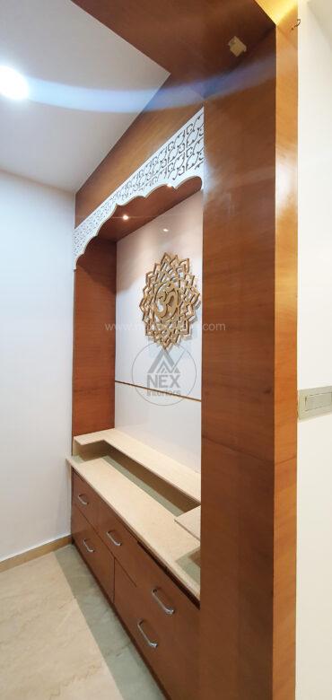 pooja room wood work